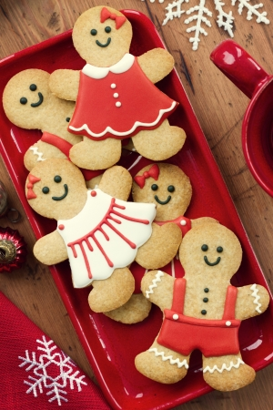 galletas de navidad: Hombres de pan de jengibre Foto de archivo