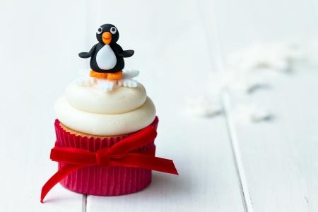 Penguin cupcake Stock Photo