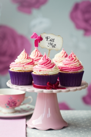 dessert stand: Cupcakes for a tea party Stock Photo