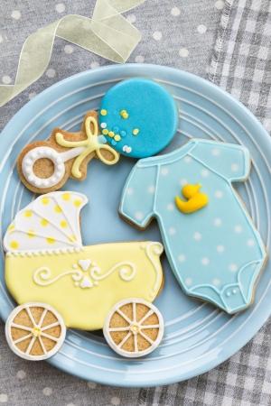 baby in suit: Baby shower cookies