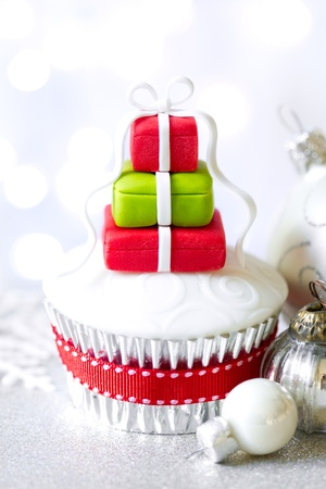 Cupcake decorated with fondant Christmas gifts Stock Photo - 16568774