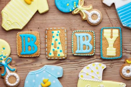 baking cookies: Baby shower biscotti Archivio Fotografico