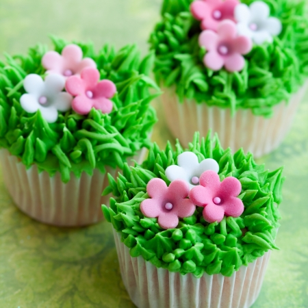 Flower cupcakes Stock Photo - 17178655