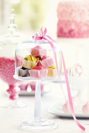 afternoon fancy cake: Fondant fancies  Stock Photo