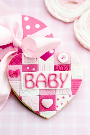 baby pink: Baby shower cookie Stock Photo