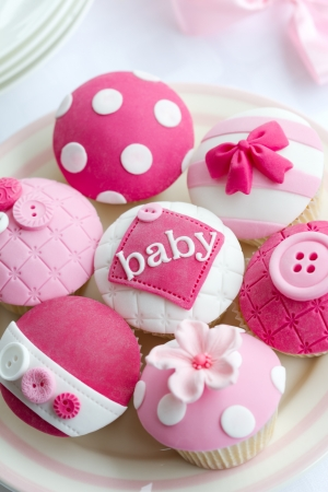 baby food: Baby shower cupcakes Stock Photo