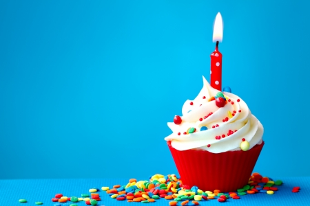 sprinkle: Birthday cupcake Stock Photo