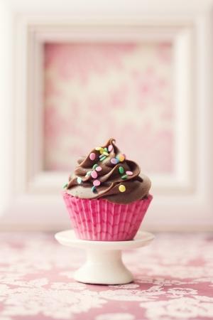 Cupcake de chocolate Foto de archivo