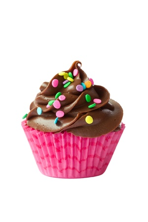 junk food: Chocolate cupcake isolated against a white background
