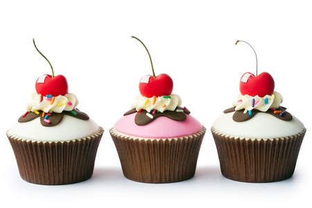 chocolate cupcakes: Cupcakes decorated with a retro ice cream sundae theme