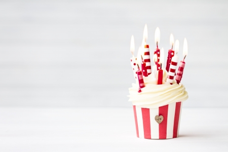 birthday food: Birthday cupcake Stock Photo