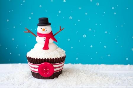 weihnachtskuchen: Schneemann Cupcake