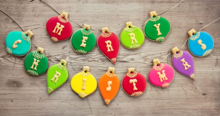 christmas bauble: Cookies with a Christmas greeting Stock Photo