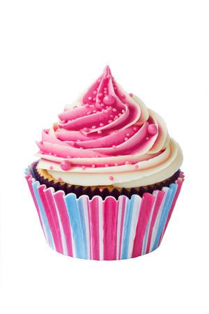 cupcakes isolated: Raspberry ripple cupcake