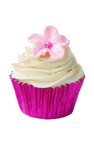 Pink flower cupcake photo