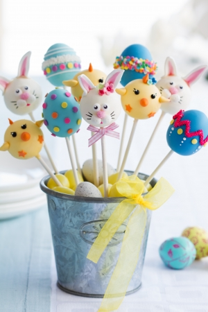cake ball: Easter cake pops Stock Photo