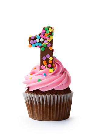 Pierwszy Cupcake urodziny Zdjęcie Seryjne