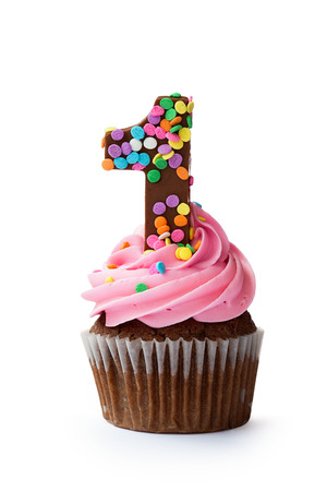 gateau anniversaire: Premier petit gâteau d'anniversaire Banque d'images