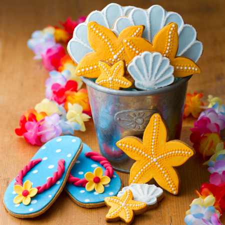 home decorated: Summer beach cookies Stock Photo