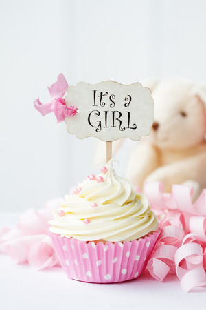 baby s: Baby shower cupcake Stock Photo