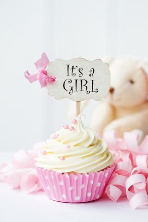 baby s: Baby shower cupcake Stock Photo