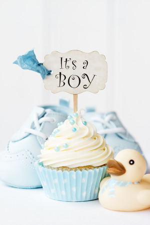 baby shower party: Baby shower cupcake Stock Photo