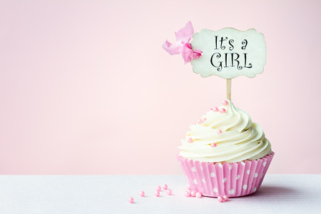 baby girls: Baby shower cupcake with copy space to side