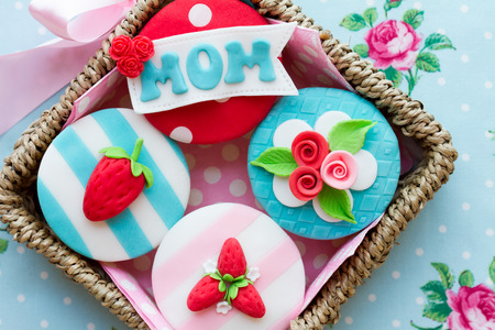 blue spotted: Mother s day cupcakes Stock Photo
