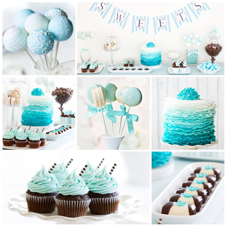 Collection of dessert table images Stock Photo