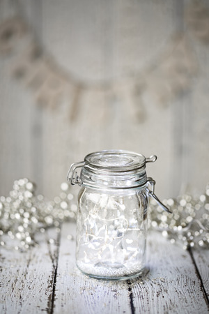 Fairy lights in a jar Stock Photo