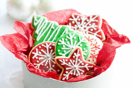 Gift box of Christmas cookies photo