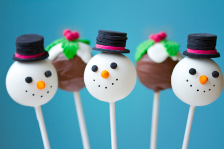 Snowman and Christmas pudding cake pops Stock Photo