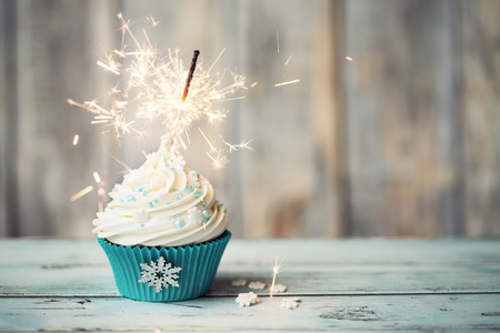 Christmas cupcake ozdobione brylant Zdjęcie Seryjne