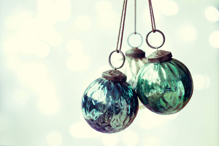 christmas ornaments: Blue and green Christmas ornaments