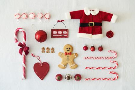 dulces: Colecci�n de objetos de Navidad Foto de archivo