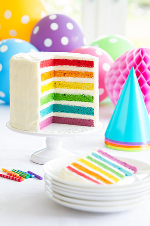 Brightly colored rainbow layer cake