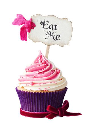 cake pick: Raspberry ripple cupcake with Eat Me pick