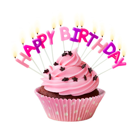 happy birthday cake: Pink cupcake decorated with birthday candles Stock Photo