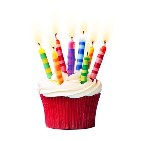 torta candeline: Cupcake compleanno su uno sfondo bianco Archivio Fotografico
