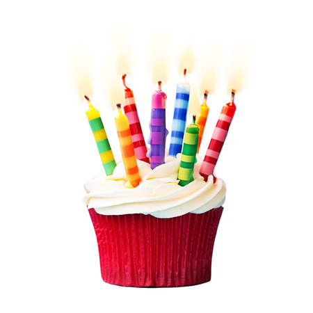 Birthday cupcake against a white background