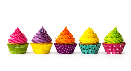 barvitý: Barevné cupcakes na bílém pozadí Reklamní fotografie