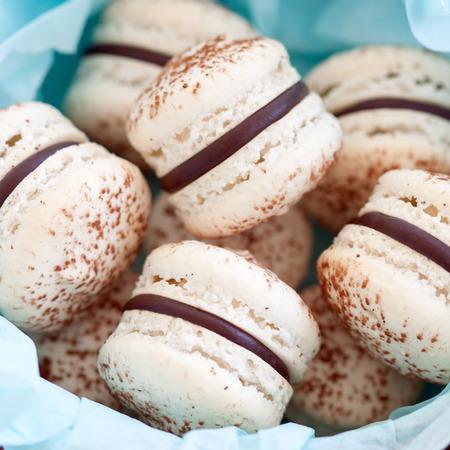 macarons: Gift box of chocolate macarons Stock Photo