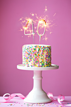 40th birthday cake with sparklers 스톡 콘텐츠