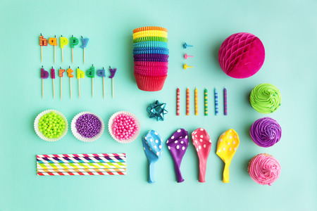 Overhead view of birthday party object collection photo