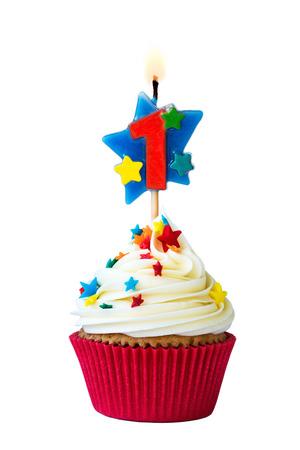 番号を 1 つのキャンドルとケーキ 写真素材