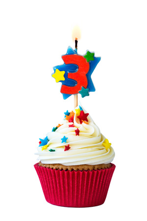 Cupcake with number three candle