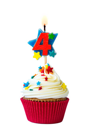 Cupcake with number four candle 스톡 콘텐츠