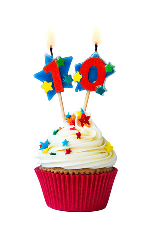 white candle: Cupcake with number ten candles Stock Photo
