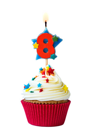 eight: Cupcake with number eight candle