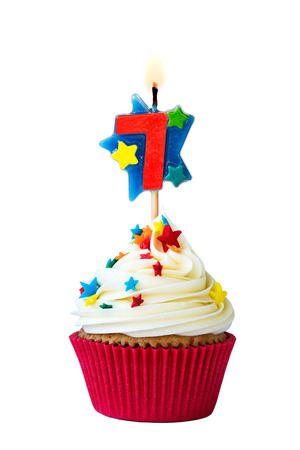 seventh: Cupcake with number six candle